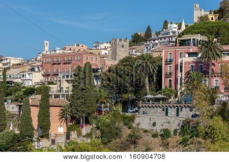 TAORMINA ITALY - AUGUST 20 2016: Taormina is Sicily's most famous upmarket and expensive resort mainly because of its fabulous location high up on Mount Tauro.