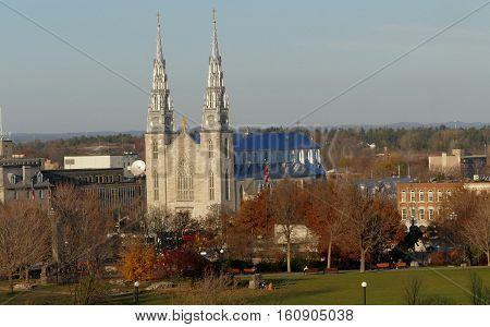 Ottawa, Canada. November 14Th 2016 - Notre Dame Cathedral In Ottawa View From Parliament Hill