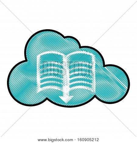 cloud and book with download arrow icon over white background. electronic book concept. colorful and sketch design. vector illustration