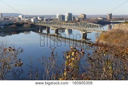 Ottawa, Canada. November 14Th 2016 - Alexandra Bridge In Ottawa During The Cold Sunny Day