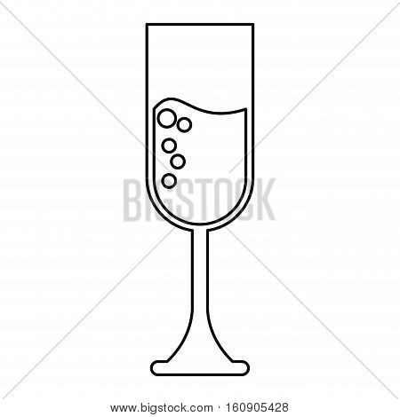 cup glass champagne love celebration outline vector illustration eps 10
