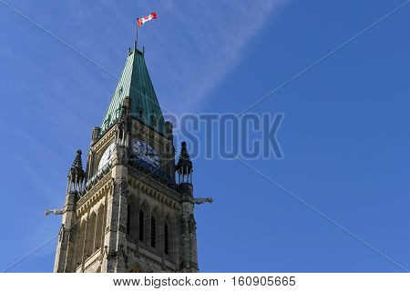 Ottawa, Canada. November 14Th 2016 - Parliament Of Canada On Parliament Hill In Ottawa