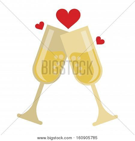 two cup glass champagne love heart celebration vector illustration eps 10