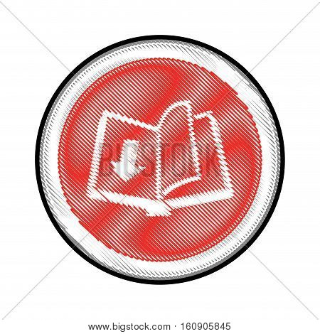 book with download arrow icon over white background. electronic book concept. vector illustration