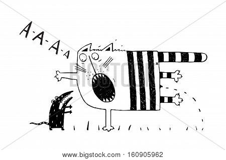 Scared cat pee. blacj and white hand drawn cartoon. vector illustration.