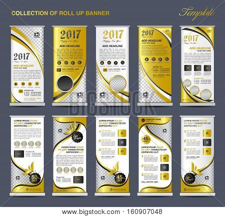 Collection Gold Roll Up Banner Design stand template, flyers design, advertisement, display layout, x-banner and flag-banner, pull up
