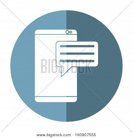 smartphone with bubble speak media communication shadow vector illustration eps 10