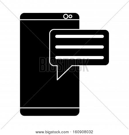 silhouette smartphone with bubble speak media communication vector illustration eps 10