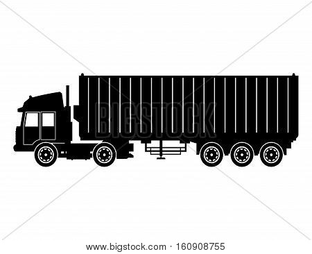 silhouette truck trailer container delivery cargo transport vector illustration eps 10