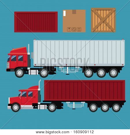 set trailer container delivery transport cardboard box vector illustration eps 10