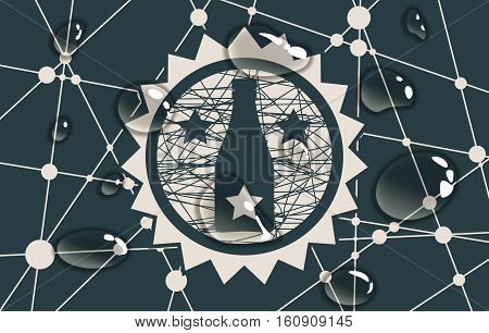 Suitable for poster, promotional leaflet, invitation, banner or magazine cover. Molecule And Communication Background. Unusual font. Connected lines with dots. Wine shop logo. Transparent water drops.