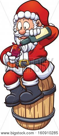 Cartoon Santa Claus drinking a cup of wine, sitting on a barrel. Vector clip art illustration with simple gradients. Santa and barrel on separate layers.
