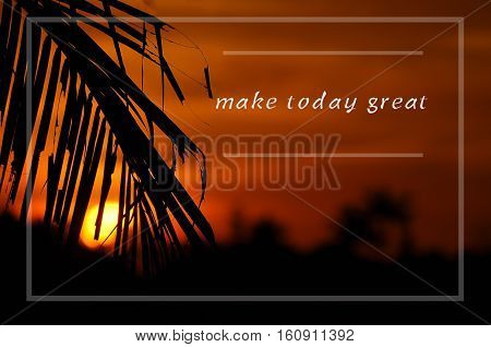 Inspirational Motivating Quote On Silhouette Of Coconut Frond Toward Sun During Sunset.