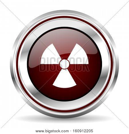 Radiation icon chrome border round web button silver metallic pushbutton