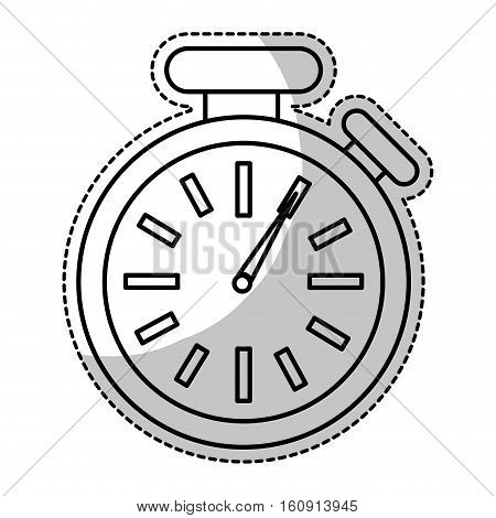 sticker of chronometer time device icon over white background. vector illustration