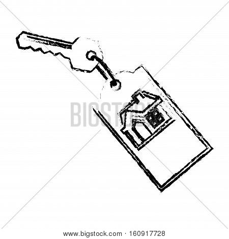 house keys with keychain over white background. real estate design. vector illustration