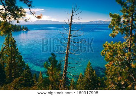 Emerald Blue Waters by the east shores of Lake Tahoe Nevada