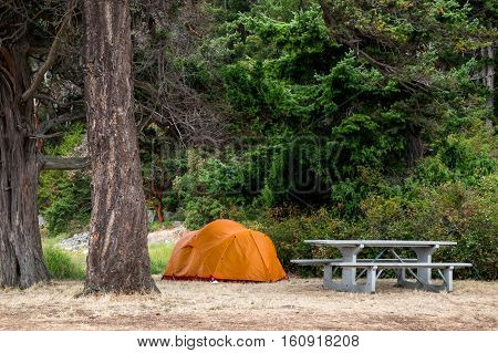 Orange tent and concrete picnic table in campground