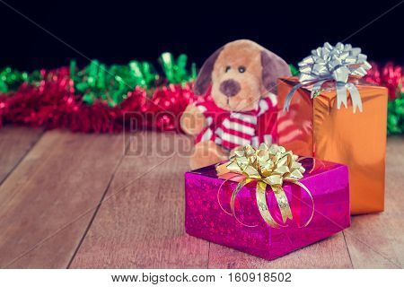 Gift boxes christmas day on wood background Boxing day concept.