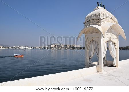 Jag Mandir (also called Lake Garden Palace) on lake Pichola in Udaipur, Rajasthan, India