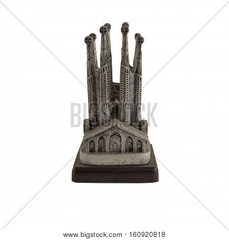 Siver Barcelona souvenir isolated on white background