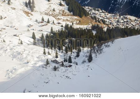 View of landscape in the Alps at gimmelwald & murren villages in Switzerland. Top View from cable cars.