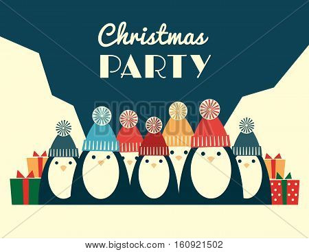 Vector retro styled illustration of a large group of penguins in knit hats with pompoms. Horizontal format, text