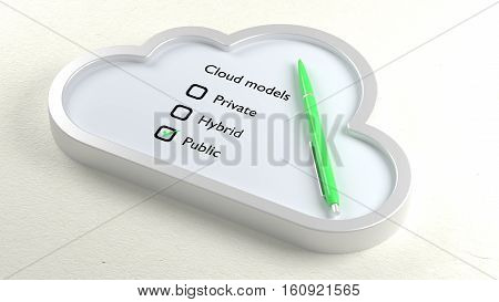 Three different cloud models in a symbol checklist with a ball pen and public crossed off 3D illustration