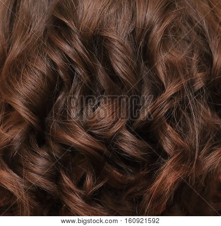 Beautiful brown hair. Brown hair background. Brown hair lock closeup.