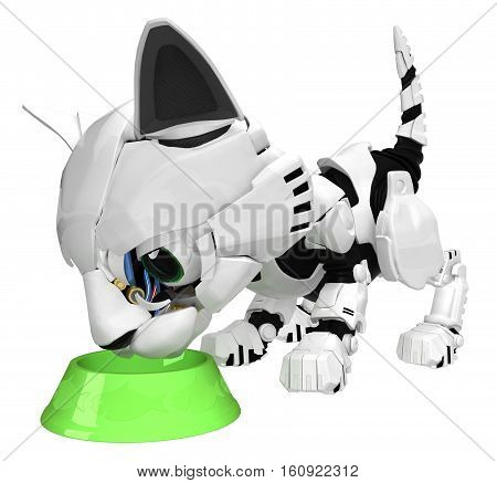 Robotic kitten with bowl 3d illustration horizontal isolated