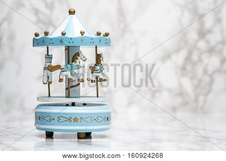 Blue Wooden Carousel Horses With Old Vintage Look