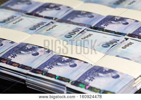 New Taiwan Dollars In Stacks