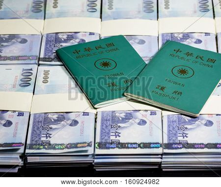 New Taiwan Dollars In Stacks With Roc Passport
