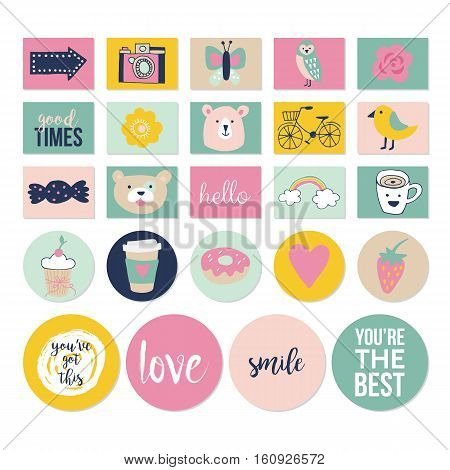 Stylish Hand Drawn Stickers And Labels For Graphic And Web Design. Cute Planner And Journal Decorati