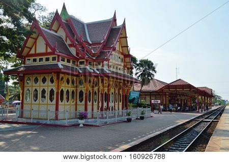 Prachuap Khiri Khan Thailand February 25, 2015 : Hua Hin railway station ancient platform with Thai traditional art building and popular travel location in Thailand