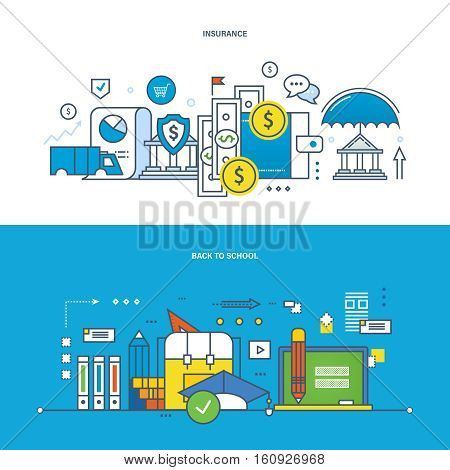 Concept of illustration - insurance, finance, management, modern education and learning, teaching and research, business. Vector design for website, banner, printed materials and mobile app.