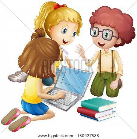 Three kids working on computer illustration