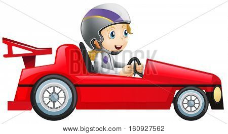 Woman driving in red racing car illustration