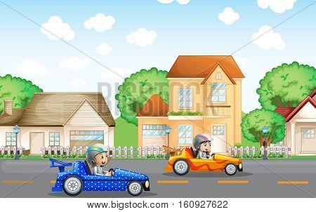 Two kids in racing car driving in neighborhood illustration