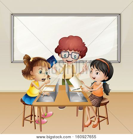 Kids working on computer in classroom illustration