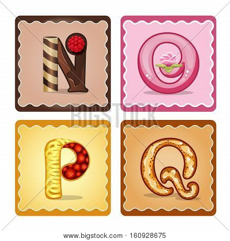 Cards for children for learning the alphabet. Letters n o p q as chocolate in the form of candies and cakes . Vector Illustration