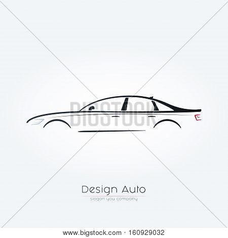 Sedan car Silhouette Design. Car Logo Vector Illustration. Concept for automobile repair service spare parts store.