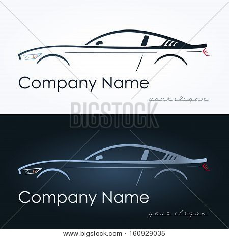 Illustration of abstract sport coupe car. Vector logo design template. Concept for automobile repair service spare parts store.
