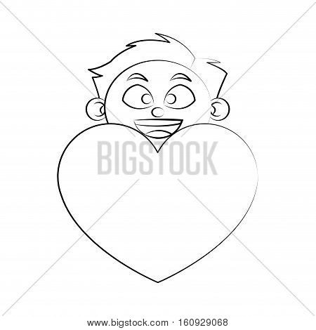 heart gift and boy icon. Present holiday celebration and surprise theme. Isolated design. Vector illustration