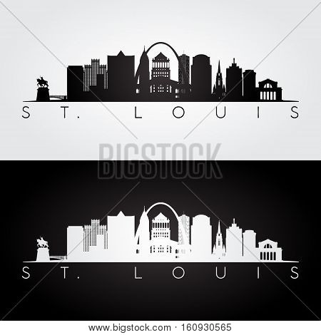 St. louis USA skyline and landmarks silhouette black and white design vector illustration.