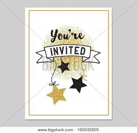 Chick Party glitter greeting card and invitation. Gold hearts, speech bubbles, stars and other elements. Vector element, backgrounds. Gold, pink and blue sparkle, chic style