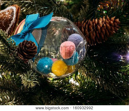 Color baloons, Christmas and new year tree decorations