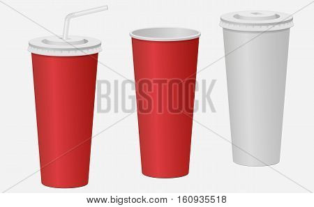 Red And White Paper Cup With A Lid. Carbonated Drink. Vector