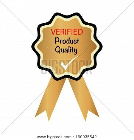 verified product quality with tick, vector badge icon