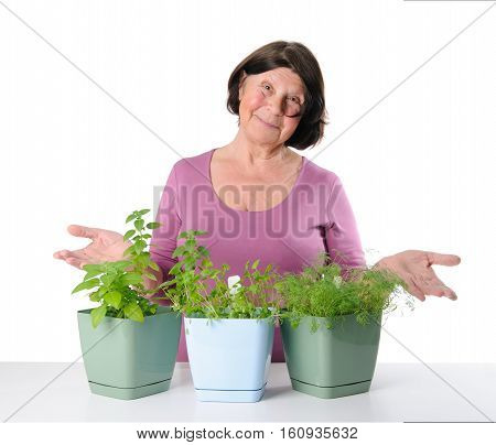 Cute Older Woman Shows The Pots With Seedlings Of Herbs.